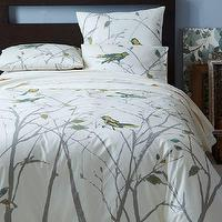 Bedding - Organic Sparrow Song Duvet Cover + Shams | west elm - bird patterned duvet cover, birds and branches bedding, bird and branch patterned bedding,