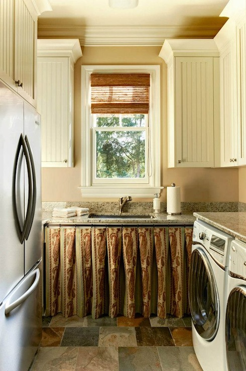 Flagstone floor country laundry room carolina design for Country laundry room curtains