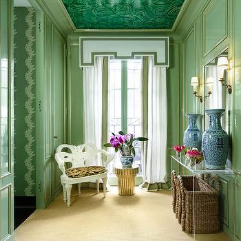 Malachite Mural, Eclectic, entrance/foyer, Farrow & Ball Saxon Green, Veranda