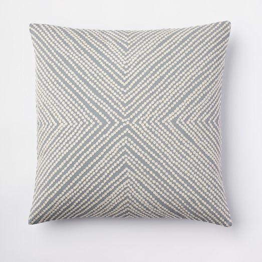 Diamond Dot Crewel Pillow Cover - Dusty Blue - west elm
