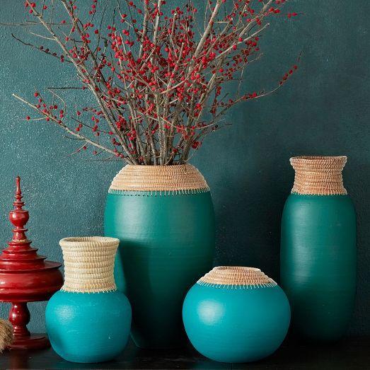 Pine Needle Clay Vases West Elm
