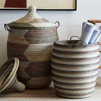 Decor/Accessories - Graphic Printed Baskets - Natural | west elm - woven basket, african woven basket, patterned woven baskets,