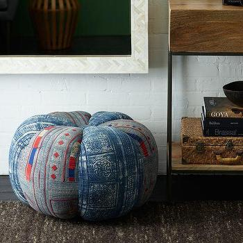 Seating - Found Thai Pouf | west elm - thai pouf, vintage blue and red pouf, blue and red thai style pouf,
