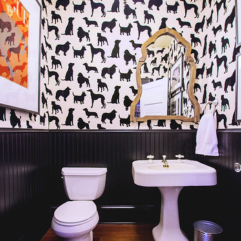 Dog Flock Velvet Wallpaper, Eclectic, bathroom, Lucy and Company