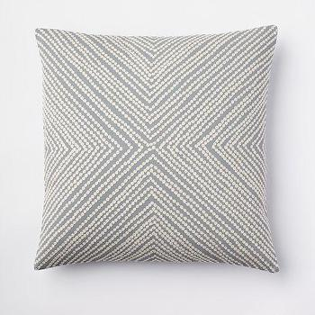 Pillows - Diamond Dot Crewel Pillow Cover - Dusty Blue | west elm - gray and white pillow, gray and white crewel pillow, gray diamond dot crewel pillow,
