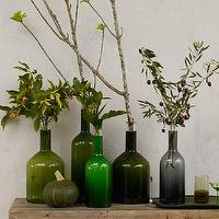Decor/Accessories - Glass Bottle Vases | west elm - green glass bottles, glass bottles,
