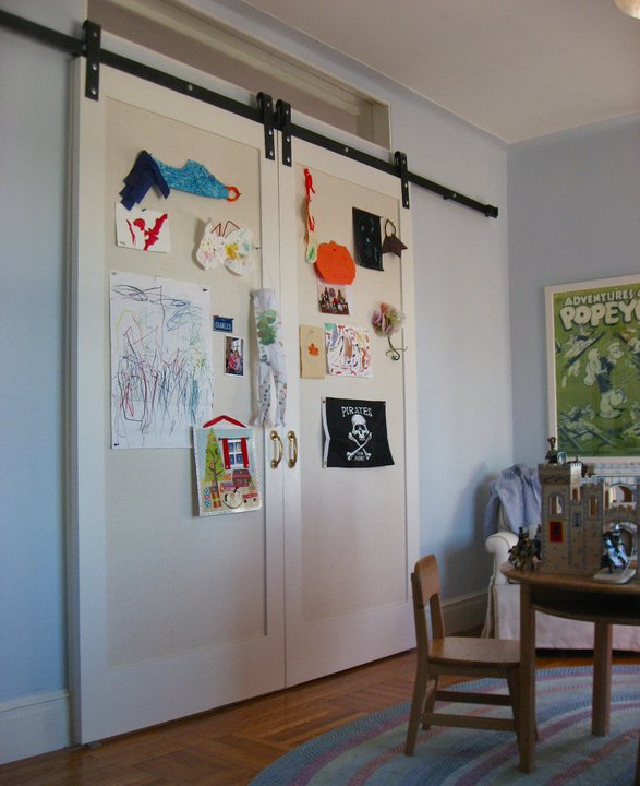 Blue Kids Room: Playroom Barn Door