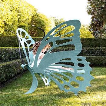 Seating - Cricket Forge Butterfly Bench I Neiman Marcus - butterfly bench, butterfly shaped outdoor bench, steel butterfly bench,