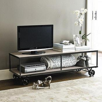Storage Furniture - Logan Castered Console | Ballard Designs - castered console, industrial media console, media console on castors,
