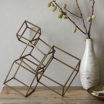 Decor/Accessories - Cubed Sculpture | west elm - bronze sculpture, cube sculpture, contemporary bronze sculpture,