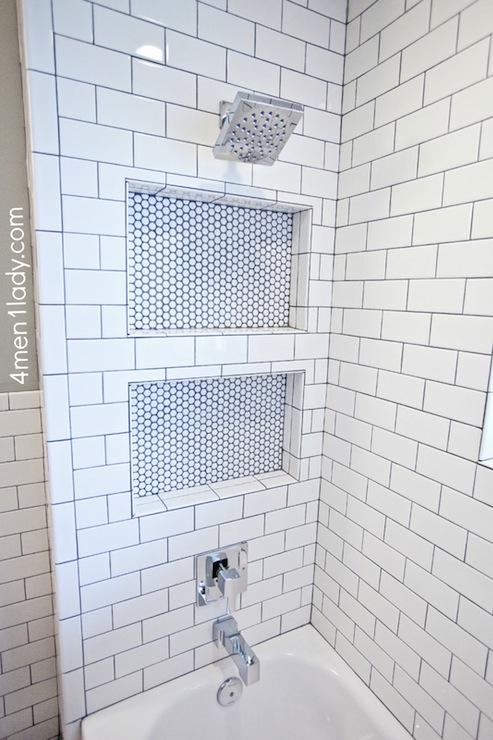 Shower Niche Transitional Bathroom 4 Men 1 Lady