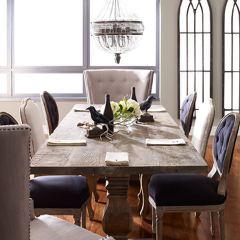 Zin Home - dining rooms - natural dining table, trestle dining tables, trestle dining table, purple chairs, purple dining chairs, purple velvet chairs, purple tufted chairs, purple velvet dining chairs, purple tufted dining chairs, purple velvet tufted chairs, purple velvet tufted dining chairs,