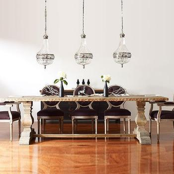 Zin Home - dining rooms - trestle dining table, purple chairs, purple dining chairs, purple velvet chairs, purple tufted chairs, purple velvet dining chairs, purple tufted dining chairs, purple velvet tufted chairs, purple velvet tufted dining chairs,