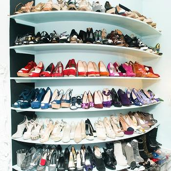 Built In Shoe Shelves, Contemporary, closet, The Coveteur