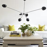 Pamplemousse Design - living rooms - black and yellow living room, black and white striped rug, striped rug, black and white rug, square coffee table, contemporary light pendant, slipcovered sofa, white sofa, white slipcovered sofa, yellow and gray pillows,