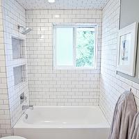Gray Subway Tile Contemporary Bathroom White Amp Gold