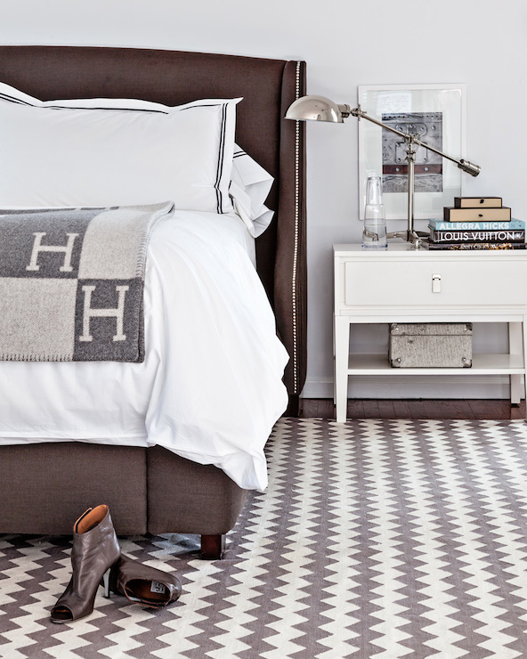 Gray Hermes Blanket Contemporary Bedroom Sissy And