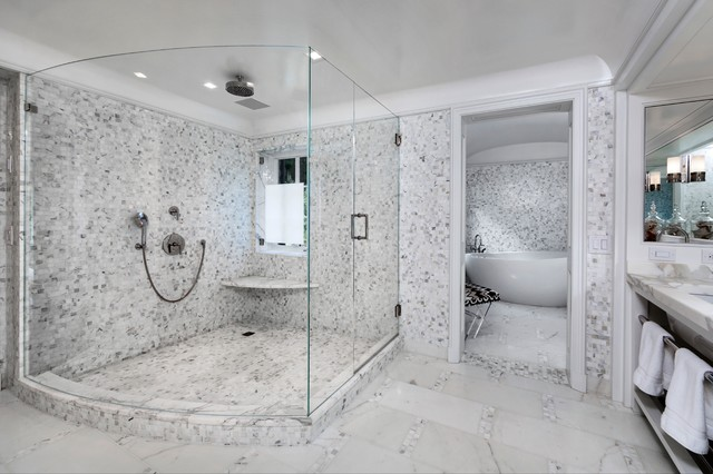 Huge walk in shower contemporary bathroom vicente for Huge walk in shower