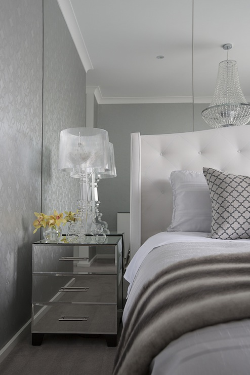metallic silver wallpaper floor to ceiling mirrors mirrored