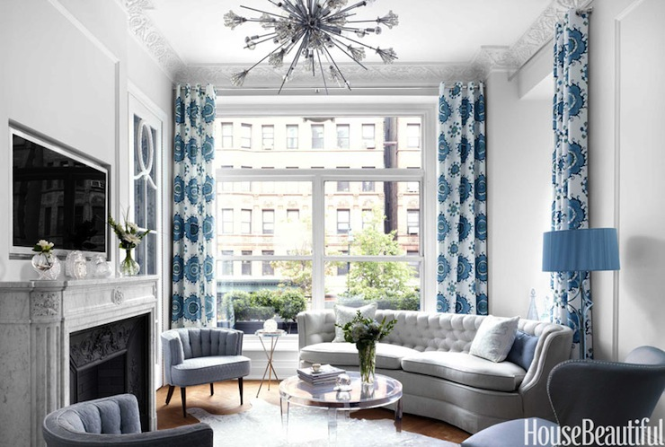 Gray And Blue LIving Room Transitional Living