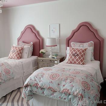 A Well Dressed Home - girl's rooms - pink ceiling, gray curtains, twin headboards, girls headboards, pink headboards, mirrored nightstand, shared nightstand, pink and blue bedding, girls bedding, zebra rug, gray zebra rug, pink lattice pillows, , West Elm Safari Wool Rug,