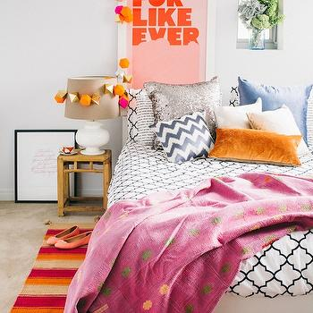 Adore Magazine - bedrooms - for like ever, platform bed, white platform bed, quatrefoil duvet, white and black quatrefoil duvet, black and white quatrefoil bedding, striped rug, pink throw, pink throw blanket, silver metallic pillow,