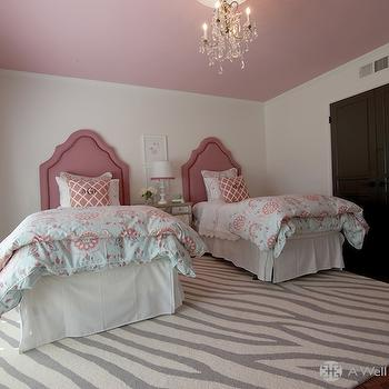A Well Dressed Home - girl's rooms - pink ceiling, gray curtains, twin headboards, girls headboards, pink headboards, mirrored nightstand, shared nightstand, pink and blue bedding, girls bedding, zebra rug, gray zebra rug, pink lattice pillows, black closet doors, , West Elm Safari Wool Rug,