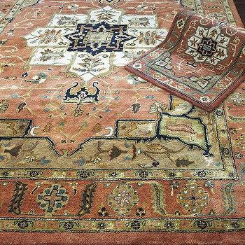 Rugs - Kashan Hand Tufted Rug | Ballard Designs - terracotta colored rug, persian rug, persian style rug,