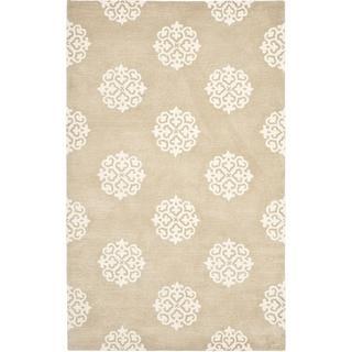 Rugs - Handmade Soho Medallion Beige Wool Rug (5'x 8') | Overstock.com - biege medallion rug, beige and ivory medallion rug, medallion rug,