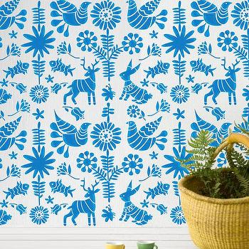 Art/Wall Decor - Wall Stencil Kids Room Mexican Otomi Pattern Wall by OMGstencils I Etsy - kids wall stencil, mexican otomi wall stencil, kids animal motif wall stencil,