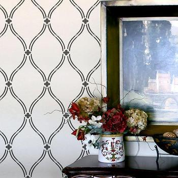 Art/Wall Decor - Wall Stencil Lattice Trellis Quatrefoils Allower by OMGstencils I Etsy - trellis wall stencil, lattice wall stencil, quatrefoil wall stencil,