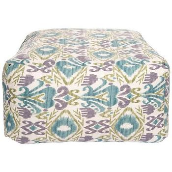 Seating - Ikat Peacock Outdoor Pouf | DwellStudio - purple green and blue ikat pouf, ikat pouf, purple green and blue ikat outdoor pouf,