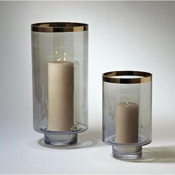 Decor/Accessories - Twilight Hurricane | DwellStudio - smoked glass hurricane, smoked glass hurricane candle holder, gold edge smoked glass hurricanes,