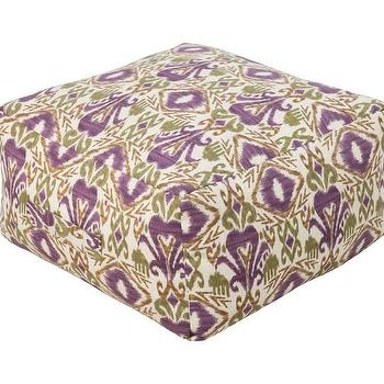 Seating - Ikat Grape Outdoor Pouf | DwellStudio - purple and green ikat pouf, ikat pouf, purple and green ikat outdoor pouf,