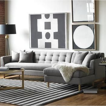 Seating - Edward L Shaped Sectional  | DwellStudio - modern gray sectional, modern gray tufted back sectional, modern gray tufted back sectional sofa,