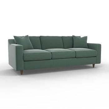 Seating - Bancroft Sofa | DwellStudio - modern green sofa, green sofa, green sofa with exposed wood legs,