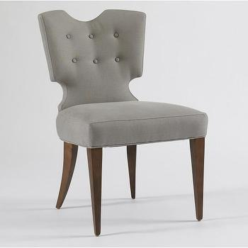 Seating - Vivian Chair | DwellStudio - gray tufted back chair, modern gray chair, modern gray tufted back chair,