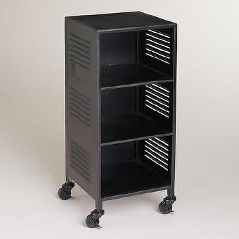 Storage Furniture - Espresso Austin Metal Locker | World Market - metal locker, vintage style locker, metal locker side table,