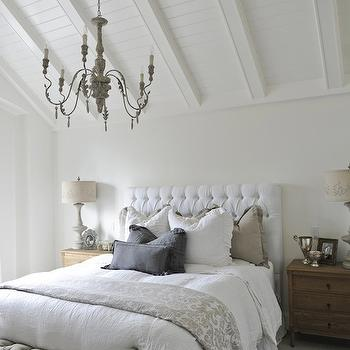 White Velvet Tufted Headboard, Cottage, bedroom, Tracey Ayton Photography