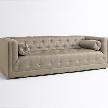 Seating - Astor Sofa | DwellStudio - taupe tufted sofa, mid-century modern style sofa, taupe mid-century modern style tufted sofa,