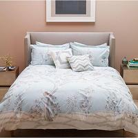 Bedding - Jardin Mist Duvet Set | DwellStudio - blue floral bedding, blue botanical duvet set, mural style duvet set,