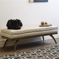 Seating - Erikson Bench | DwellStudio - modern wood based leather bench, modern leather bench, modern tan leather bench,