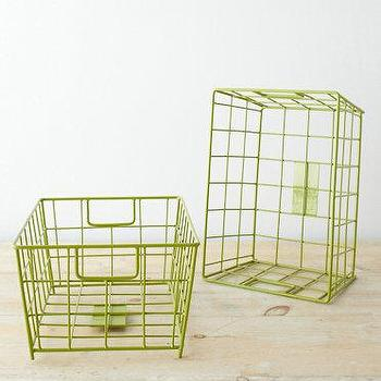 Decor/Accessories - Garnet Hill Wire Storage Baskets I Garnet Hill - green metal storage baskets, green wire storage baskets, green baskets,