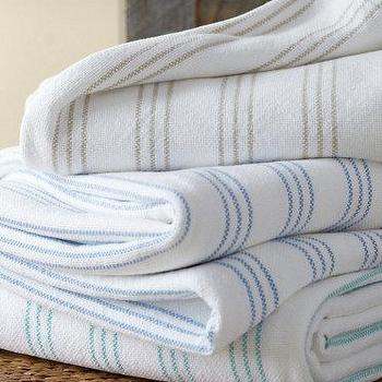 Bedding - Stonington Blanket I Garnet Hill - blue and white striped blanket, green and white striped blanket, gray and white striped blanket,