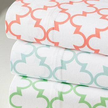 Bedding - Everyday Printed Percale Bedding I Garnet Hill - moorish bedding, moroccan tile bedding, coral and white moroccan bedding, blue and white moroccan bedding, green and white moroccan bedding,