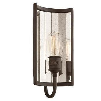 "Lighting - Troy Lighting Brooklyn 7"" Wall Sconce I Lightsonline.com - mirror backed wall sconce, mirrored wall sconce, iron and mirror wall sconce,"