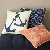 Pillows - Garnet Hill Canvas Pillow Cover Collection I Garnet Hill - nautical pillow, anchor pillow, navy blue nautical pillow, starfish pillow, sea star pillow,