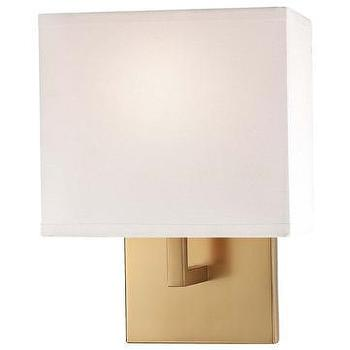 Lighting - George Kovacs Contemporary Gold Wall Sconce I LightsOnline.com - contemporary gold wall sconce, gold wall sconce, gold wall sconce with white shade,