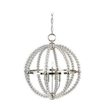 Lighting - Hudson Valley Danville Chandelier I LightsOnline.com - polished nickel and glass chandelier, beaded glass and polished nickel chandelier, beaded glass sphere chandelier,