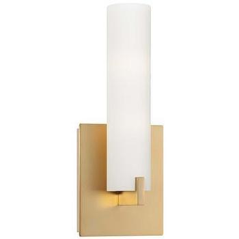 Lighting - George Kovacs Tube Gold 2-Light Wall Sconce I LightsOnline.com - gold wall sconce, gold 2 light wall sconce, gold and opal glass wall sconce,